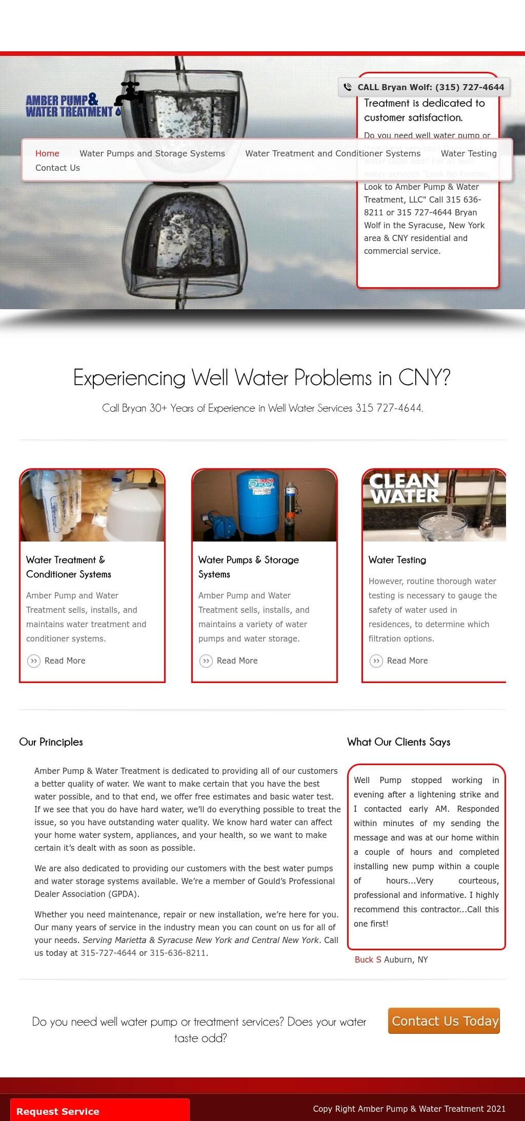 Amber Pump & Water Treatment Marietta NY desktop